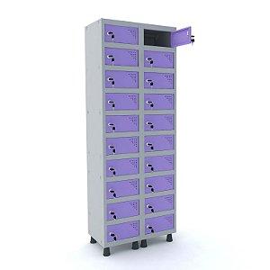 Armario Porta Objetos de Aco 2 Vaos 20 Portas Pandin Cinza e Lilas  1,90 M
