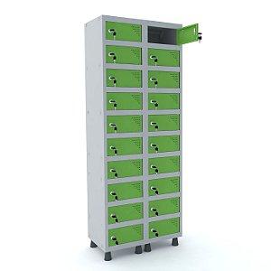 Armario Porta Objetos de Aco 2 Vaos 20 Portas Pandin Cinza e Verde Miro  1,90 M