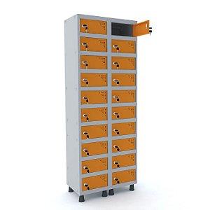 Armario Porta Objetos de Aco 2 Vaos 20 Portas Pandin Cinza e Laranja Picasso  1,90 M
