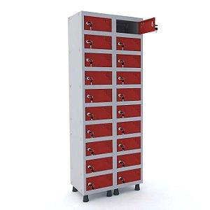 Armario Porta Objetos de Aco 2 Vaos 20 Portas Pandin Cinza e Vermelho  1,90 M