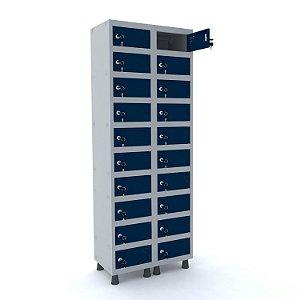 Armario Porta Objetos de Aco 2 Vaos 20 Portas Pandin Cinza e Azul Del Rey  1,90 M