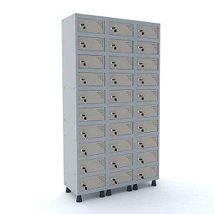 Armario Porta Objetos de Aco 3 Vaos 30 Portas Pandin Cinza e Bege Areia  1,90 M