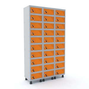 Armario Porta Objetos de Aco 3 Vaos 30 Portas Pandin Cinza e Laranja Picasso  1,90 M