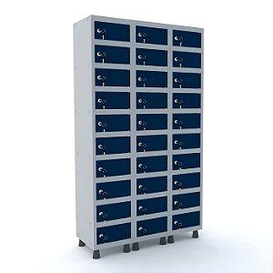 Armario Porta Objetos de Aco 3 Vaos 30 Portas Pandin Cinza e Azul Del Rey  1,90 M
