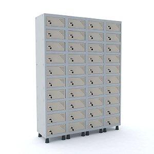 Armario Porta Objetos de Aco 4 Vaos 40 Portas Pandin Cinza e Bege Areia  1,90 M
