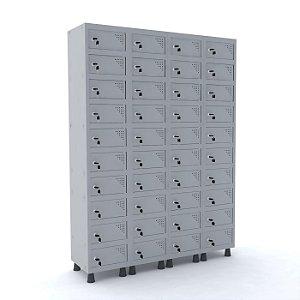 Armario Porta Objetos de Aco 4 Vaos 40 Portas Fechadura Pandin Cinza Cristal  1,90 M