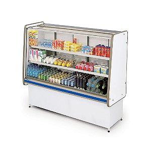 Balcao Refrigerado Vidro Reto com Pista Dupla Pop Luxo Polofrio Branco e Azul  1,0 M 220 V