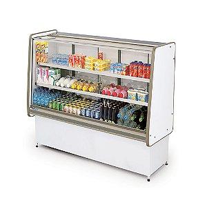 Balcao Refrigerado Vidro Reto com Pista Dupla Pop Luxo Polofrio Branco e Cinza  1,0 M 220 V