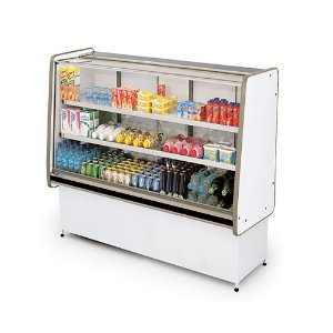 Balcao Refrigerado Vidro Reto com Pista Dupla Pop Luxo Polofrio Branco e Preto  1,0 M 220 V