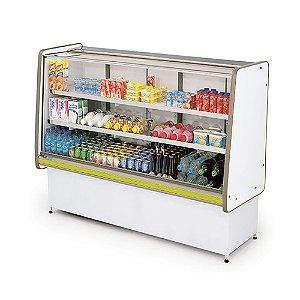 Balcao Refrigerado Vidro Reto com Pista Dupla Pop Luxo Polofrio Branco e Amarelo  1,25 M 220 V