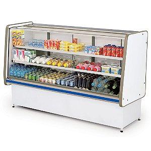 Balcao Refrigerado Vidro Reto com Pista Dupla Pop Luxo Polofrio Branco e Azul  1,25 M 220 W