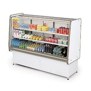 Balcao Refrigerado Vidro Reto com Pista Dupla Pop Luxo Polofrio Branco e Cinza  1,25 M 220 W