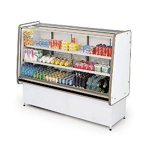 Balcao Refrigerado Vidro Reto com Pista Dupla Pop Luxo Polofrio Branco e Preto  1,25 M 220 V