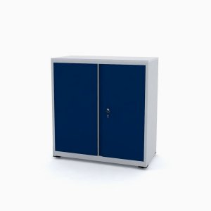 Armario de Aco Baixo com Tampo De Madeira Ap406sl Pandin Cinza e Azul Del Rey 84 Cm