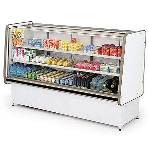 Balcao Refrigerado Vidro Reto com Pista Dupla Pop Luxo Polofrio Branco e Preto  1,80 M 220 V