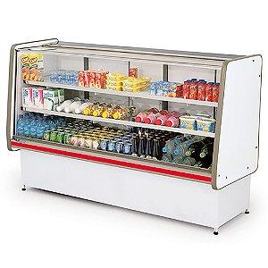 Balcao Refrigerado Vidro Reto com Pista Dupla Pop Luxo Polofrio Branco e Vermelho  1,80 M 220 V
