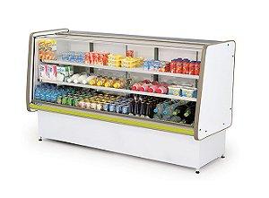 Balcao Refrigerado Vidro Reto com Pista Dupla Pop Luxo Polofrio Branco e Amarelo  2,00 M 220 V