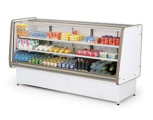Balcao Refrigerado Vidro Reto com Pista Dupla Pop Luxo Polofrio Branco e Cinza  2,00 M 220 V