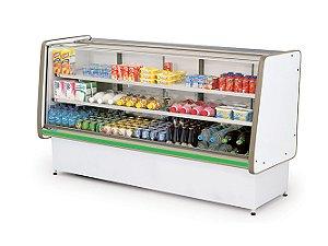 Balcao Refrigerado Vidro Reto com Pista Dupla Pop Luxo Polofrio Branco e Verde  2,00 M 220 V