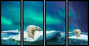 Quadro Mosaico 4 Partes Reto Urso Polar Art e Cia Preto