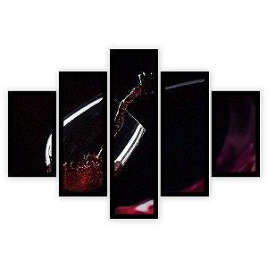 Quadro Mosaico 5 Partes Diferentes Vinho Quero Mais Quadros Preto