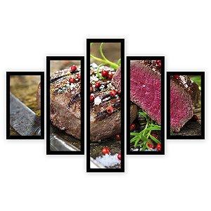 Quadro Mosaico 5 Partes Diferentes Corte de Carne Quero Mais Quadros Preto