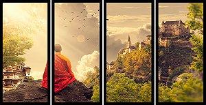 Quadro Mosaico 4 Partes Reto Budismo Art e Cia Preto