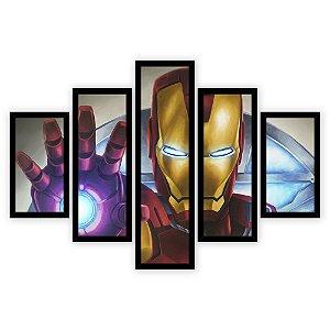 Quadro Mosaico 5 Partes Diferentes Homem de Ferro Quero Mais Quadros Preto