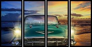 Quadro Mosaico 4 Partes Reto Antigo Chevrolet Verde Art e Cia Preto