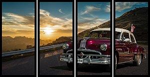 Quadro Mosaico 4 Partes Reto Pontiac Na Estrada Art e Cia Preto