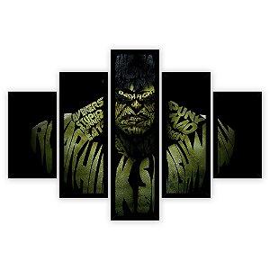 Quadro Mosaico 5 Partes Diferentes Hulk Quero Mais Quadros Preto