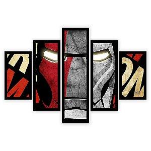 Quadro Mosaico 5 Partes Diferentes Iron Man Quero Mais Quadros Preto