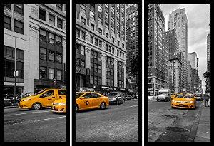 Quadro Mosaico 3 Partes Reto Taxi de New York Art e Cia Preto