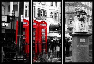 Quadro Mosaico 3 Partes Reto Cabine Telefonica Londres Art e Cia Preto