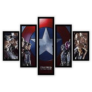 Quadro Mosaico 5 Partes Diferentes Capitao America Civil War Quero Mais Quadros Preto