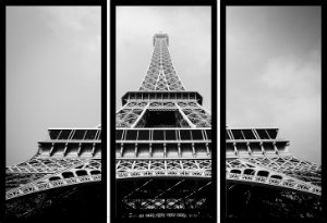 Quadro Mosaico 3 Partes Reto Torre Eiffel Peb Art e Cia Preto