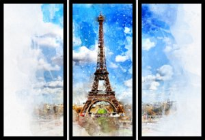Quadro Mosaico 3 Partes Reto Pintura Torre Eiffel Art e Cia Preto
