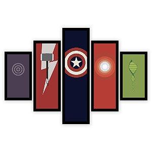 Quadro Mosaico 5 Partes Diferentes Simbolos Dos Vingadores Quero Mais Quadros Preto
