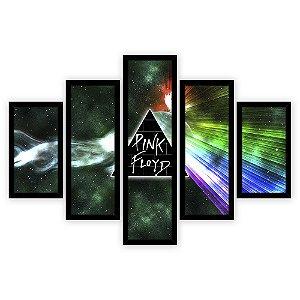 Quadro Mosaico 5 Partes Diferentes Pink Floyd Boreal Quero Mais Quadros Preto
