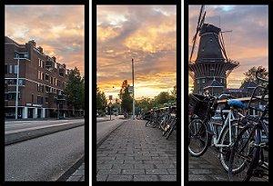 Quadro Mosaico 3 Partes Reto Buongiorno Amsterdam Art e Cia Preto