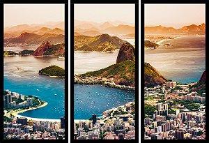 Quadro Mosaico 3 Partes Reto Pao de Acucar Rio De Janeiro Art e Cia Preto