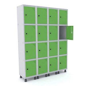 Roupeiro de Aco 4 Vaos 16 Portas com Pitao Pandin Cinza e Verde Miro  1,90 M
