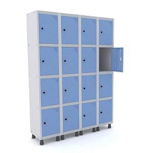 Roupeiro de Aco 4 Vaos 16 Portas com Pitao Pandin Cinza e Azul Dali  1,90 M