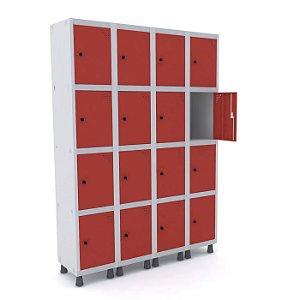 Roupeiro de Aco 4 Vaos 16 Portas com Pitao Pandin Cinza e Vermelho  1,90 M