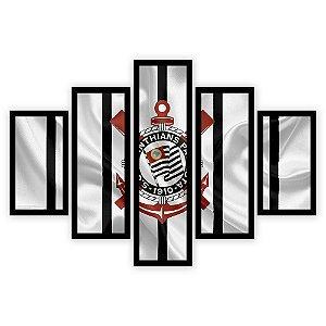 Quadro Mosaico 5 Partes Diferentes Corinthians Quero Mais Quadros Preto