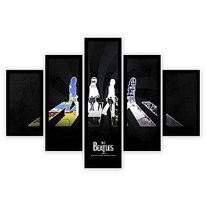 Quadro Mosaico 5 Partes Diferentes The Beatles Colorido Quero Mais Quadros Preto