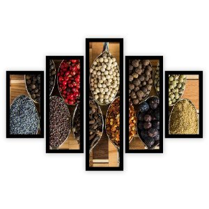 Quadro Mosaico 5 Partes Diferentes Temperos e Pimentas Quero Mais Quadros Preto