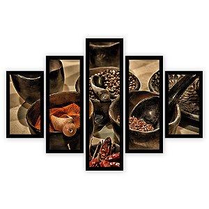 Quadro Mosaico 5 Partes Diferentes Temperos e Pimentas Rustico Quero Mais Quadros Preto