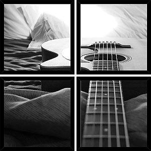 Quadro Mosaico 4 Partes Quadrado Music Violao Art e Cia Preto
