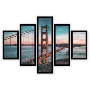 Quadro Mosaico 5 Partes Diferentes Entardecer Ponte Golden Gate Quero Mais Quadros Preto